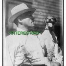 """1900-- JEFFRIES AND HIS PET DOG """"TEDDY"""" (8x10) ANTIQUE DOG RP PHOTOGRAPH"""