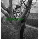 1900 J.C. SMITH HOLDING HIS PET DOG (8x10) ANTIQUE DOG RP PHOTOGRAPH