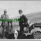 1908 FRANK. G. CARPENTER WITH PUPMOBILE (8x10) ANTIQUE RP DOG PHOTOGRAPH
