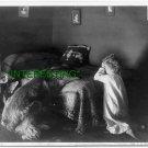 1906 EVENING PRAYER WITH PET DOG/ SMALL GIRL (8x10) ANTIQUE RP DOG PHOTOGRAPH
