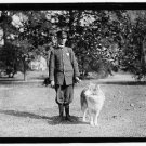 Policeman with dog on leash (8x10) ANTIQUE RP DOG PHOTOGRAPH