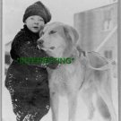 1920 CHILD AND DOG IN ALASKA (8x10) ANTIQUE RP DOG PHOTOGRAPH