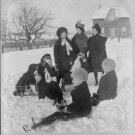 "1915 ""AWFUL COLD"" KIDS PLAYING CINCINNATI OHIO (8x10) ANTIQUE RP DOG PHOTOGRAPH"