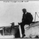 1915 AVIATOR/PILOT SEATED ON PLANE MURVIN WOOD (8x10) ANTIQUE RP DOG PHOTOGRAPH