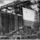 New Studio Quality Antique RP Ship Photo: THE OLYMPIC AND TITANIC SHIPS DRYDOCK