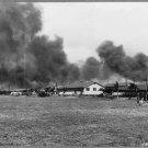 OLD 8X10 REPRINT PHOTO:BOMBING PEARL HARBOR, HICKAM FIELD, 1941 HANGAR AVE