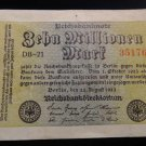 World/ Foreign Bill Banknote: 1923, ZEHN MILLIONEN MARK, REICHSBANKNOTE REICHS