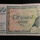World/ Foreign Bill Banknote: 100 SEDLABANKI ISLANDS, 1961, ARMI MAGNUSSON
