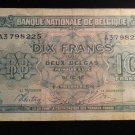 World/ Foreign Bill Banknote: 1943 WW2, WWII, BELGIUM, 10 FRANCS, WORLD WAR TWO