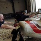 Photo Reprint:Size Choice:Airplane:NAVY SAILORS,push damaged plane,Hurricane Ike