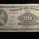 World/ Foreign Bill Banknote: BANK OF MEXICO, 20 PESOS, 1970, VINTAGE, WOMAN