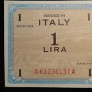 World/ Foreign Bill Banknote: ITALY, 1 LIRA, EMERGENCY ISSUE, 1943, ALLIED LIRE