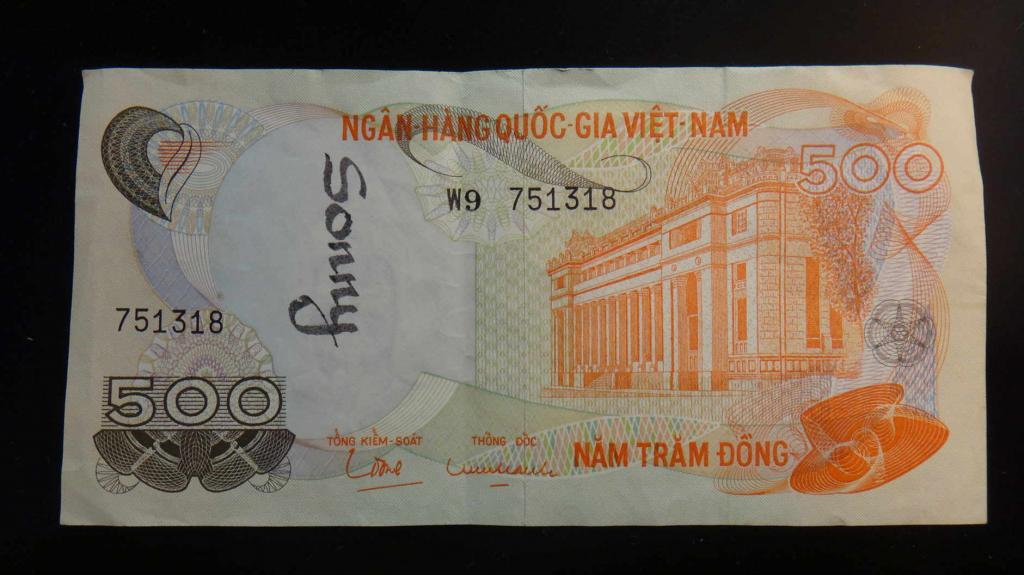 World Foreign Bill Banknote 500 Dong Vietnam Vietnamese Note Nam Tram