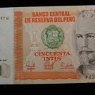 World/ Foreign Bill Banknote CURRENCY: 1987 PERU, SOUTH AMERICA 50 PESOS INTIS