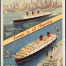 "Large Photo:(11x17)Vintage Travel Poster Reprint:""Cunard- Europe to all America"""