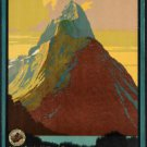 Large Photo:(11x17)Vintage Travel Poster Reprint: New Zealand, Milford Sound