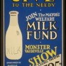 Large Photo:(8.5x11) Vintage WPA Poster Reprint: Mayor's Milk Fund, Vaudeville