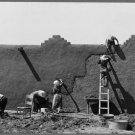 Antique Reproduction Photograph: REPLASTERING ADOBE HOUSE, CHAMISAL, NEW MEXICO