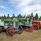 "*NEW"" LINED ALONG ROAD-MONTANNA  (8.5X11) OLD LARGE ANTIQUE TRACTOR PHOTO"