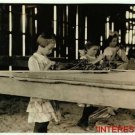 New Studio Quality Antique RP Photo: Hawthorne Farm, Tobacco Shed, young workers