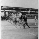 "STUDIO QUALITY ANTIQUE BICYCLE PHOTO:(8x10): L.A.W. BICYCLE RACE ""THE START"""