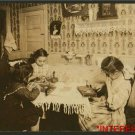 New Studio Quality Antique RP Photo: Child Welfare Exhibit-1912 Three girls sew
