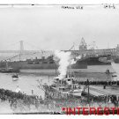 """New [8x10] Antique RP Ship Photo: U.S.N. Navy Ship """"Florida"""" 1908 with Ferry"""