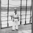 New [8x10] Antique RP Ship Photo: Sailor Bugler, New York Naval Reserve USS NH