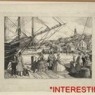 New [8x10] Antique RP Ship Photo: Visit to the Wharf, Nantucket, Dresses,Drawing