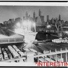 New [8x10] Antique RP Ship Photo: Freighter Glows, Brooklyn, Manhattan Skyline
