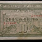 World/ Foreign Bill Banknote CURRENCY: MILITARY CURRENCY SCHILLING, 1944 AUSTRIA