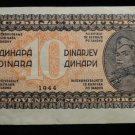 World/ Foreign Bill Banknote CURRENCY: RARE 1944 YUGOSLAVIA 10 DINARA WWII ISSUE