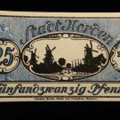 World/ Foreign Bill Banknote CURRENCY: 25 PFENNIG, NORDEN, GERMANY 1912 WWI=#2