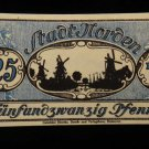 World/ Foreign Bill Banknote CURRENCY: 25 PFENNIG, NORDEN, GERMANY 1912 WWI=