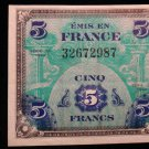 World/ Foreign Bill Banknote CURRENCY: FRANCE, WWII, 5 FRANCS, 1944, WW2 ISSUE