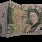 World/ Foreign Bill Banknote CURRENCY: BANK OF ENGLAND, ONE POUND, QUEEN ELIZ.