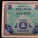 World/ Foreign Bill Banknote CURRENCY: 1944, WWII, FRANCE 5 FRANCS MILITARY NOTE