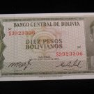 World/ Foreign Bill Banknote CURRENCY: BOLIVIA, 1962, 10 PESOS BOLIVIANOS