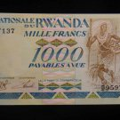 World/ Foreign Bill Banknote CURRENCY: RWANDA, AFRICA, 1000 FRANCS, 1988 TRIBAL