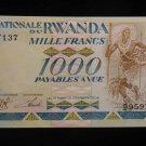World/ Foreign Bill Banknote CURRENCY: RWANDA, AFRICA, 1000 FRANCS, 1988 TRIBAL