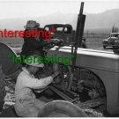 TRACTOR REPAIR: MANZANAR CENTER, CALIFORNIA 1943=(8X10) ANTIQUE OLD CAR RP PHOTO