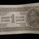 World/ Foreign Bill Banknote CURRENCY: YUGOSLAVIA 1 DINAR, 1944 WWII, WW2 RARE