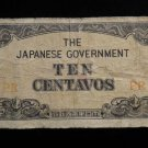 "World/ Foreign Bill Banknote Paper Currency: JAPAN JAPANESE ""RR"" 10 CENTAVOS WW2"