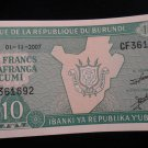 World/ Foreign Bill Banknote Paper Currency: REPUBLIC OF BURUNDI AFRICA 2007