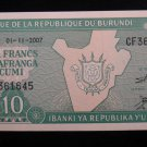 World/ Foreign Bill Banknote Paper Currency: REPUBLIC OF BURUNDI AFRICA 10 FRANC