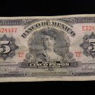 World/ Foreign Bill Banknote Paper Currency: MEXICO 1961- 5 PESOS CINCO CAJERO