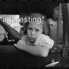 SMALL GIRL WAITING IN CAR FOR FATHER 1938 :ANTIQUE AUTOMOBILE PHOTO (8x10)