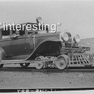 OLD CAR ON RAILROAD TRACKS CANADA IN 1928 :ANTIQUE AUTOMOBILE PHOTO (8x10)