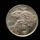 Vintage ANTIQUE OLD COIN:2002 NEW ZEALAND IGUANA 5 CENT COIN, ELIZABETH II QUEEN