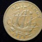Vintage ANTIQUE OLD COIN: 1959 BRITISH HALF PENNY SHIP COIN ENGLAND UK SAILING